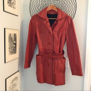 Pretty red vintage leather jacket 🧥